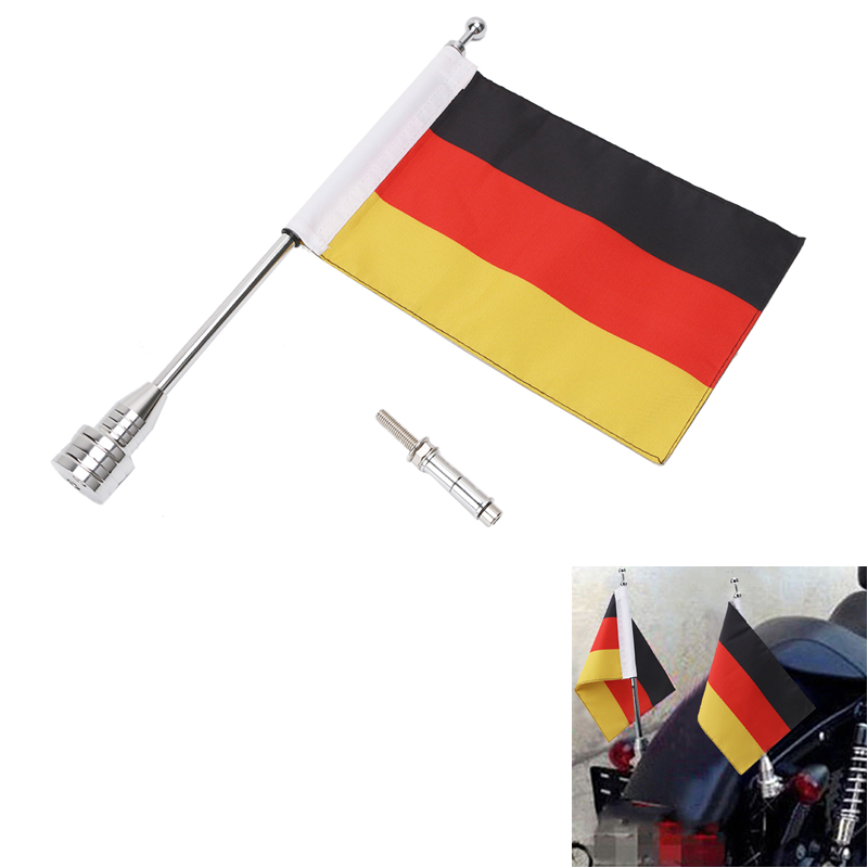Motorcycle Bike Rear Luggage Rack German Germany Flag with Steel Pole Mount For Harley Touring Sportster Dyna Softail #MBG030-GY motorcycle accessories rear fender eliminator license plate bolt screw for harley dyna softail sportster black silver