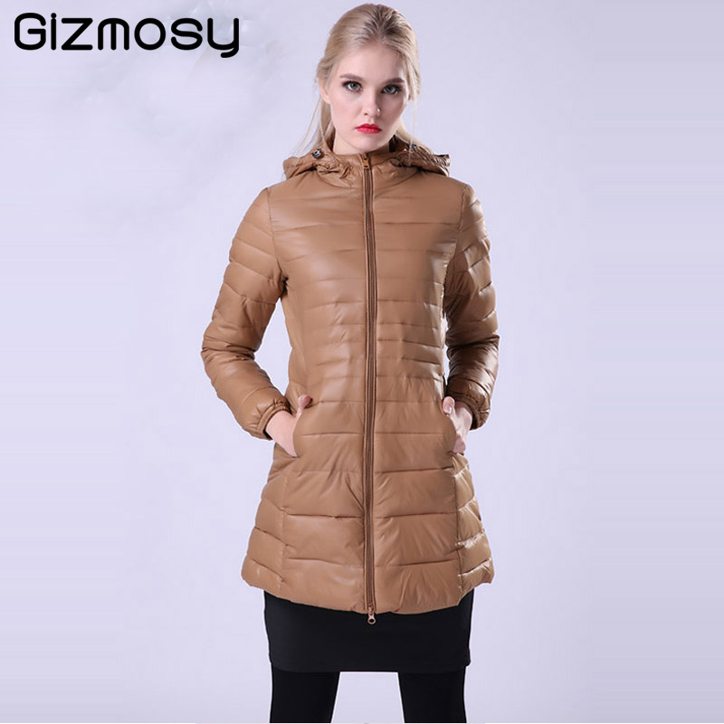 Gizmosy Female Warm Winter Jacket Women Warm Coat Thin 90% White Duck Down Parka Ultra-light Long Down Jacket Outwear SY589