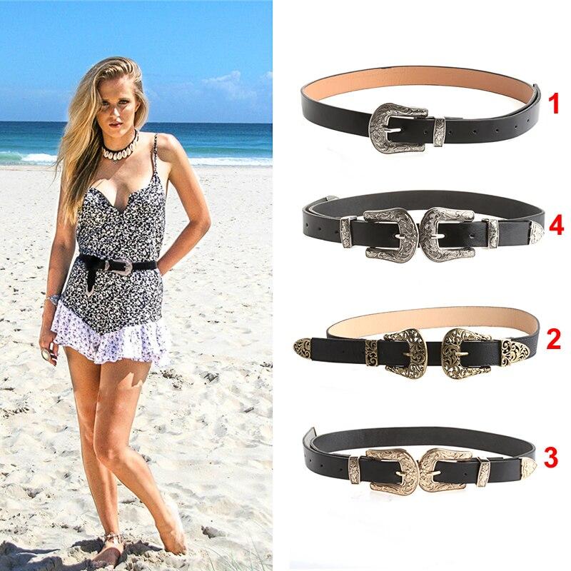 Women Lady Fashion Adjustable Punk Metalic Waistband Waist   Belt   Double Buckle or Single Buckle