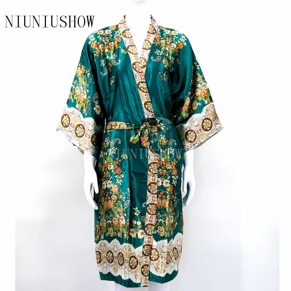 In mới của Phụ Nữ Satin Robe Gown Lady Thanh Lịch Floral Kimono Sexy Áo Ngủ Mới Áo Choàng Tắm Thường Ngủ Cộng Với Kích Thước