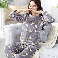 2017 Newest Women Pajama Sets Coral Fleece Pajamas Women Clothing Flower Print Leisurewear Suit Paragraph Warm