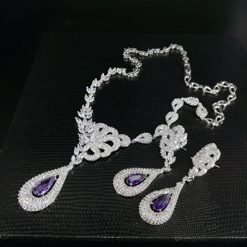 цена на 2018 NEW fashion luxury noble retro purple water drop zircon necklace earring set,wedding bride dress dinner jewelry set