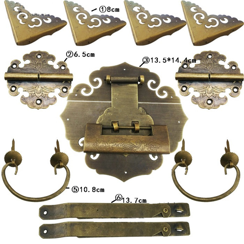 Chinese Vintage Brass Lock Set For 70~130cm Wooden Box,Vase Buckle Hasp Latch Lock+ Hinge+Corner+Handle,Bronze Tone