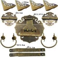 Chinese Vintage Brass Lock Set For 70~130cm Wooden Box,Vase Buckle Hasp Latch Lock+ Hinge+Corner+Handle,Bronze Tone