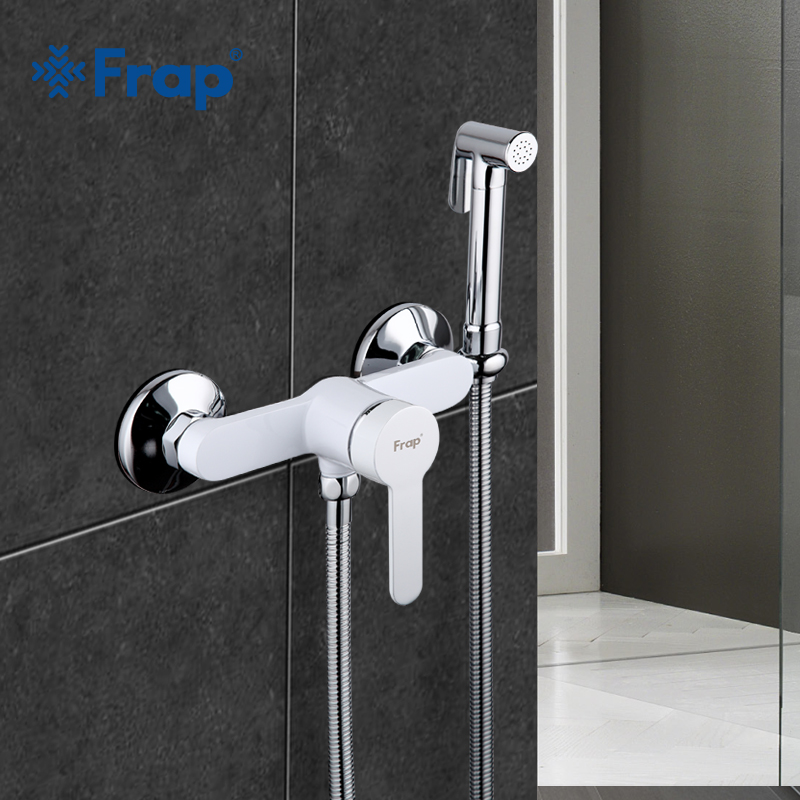 Frap 1 Set New Arrivals White Modern Bidet Faucet Single Handle Mixer Wall Mounted Luxury Bathroom