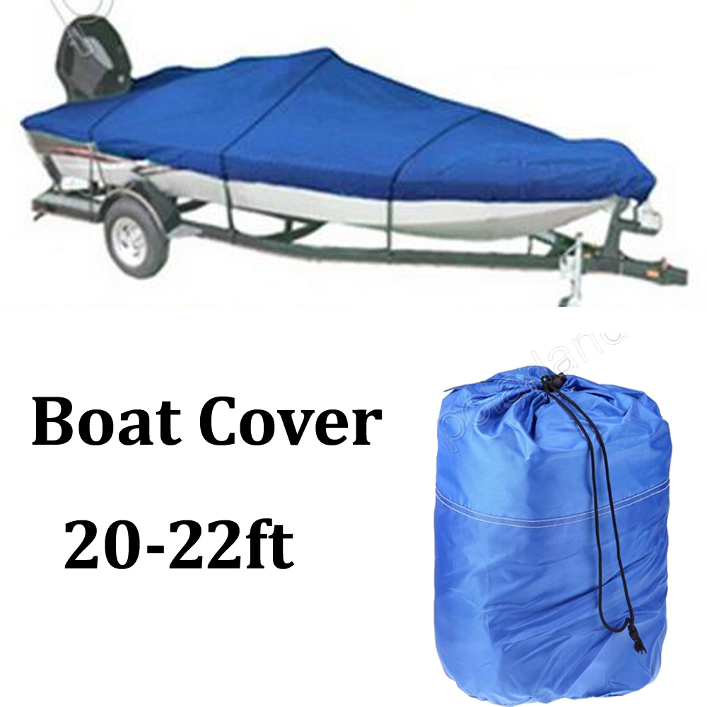 Fishing Ski Boat cover 100 beam 20-22 ft V-Hull Waterproof Blue UV Protected Oxford Cloth