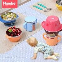 Cartoon Child Plate Tableware Dishware Dinnerware Set Stainless steel Infant Food Bowl Cup Feeding Dinner Fork Spoon for Kids