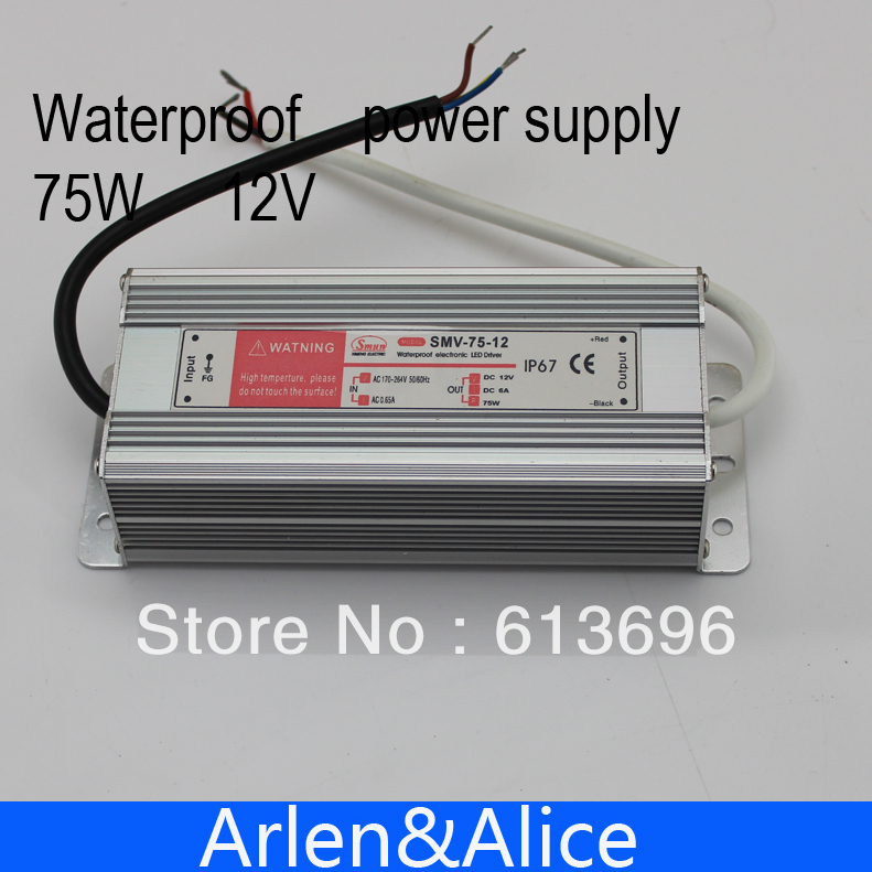 75W 12V 6.25A Waterproof outdoor Single Output Switching power supply AC TO DC SMPS