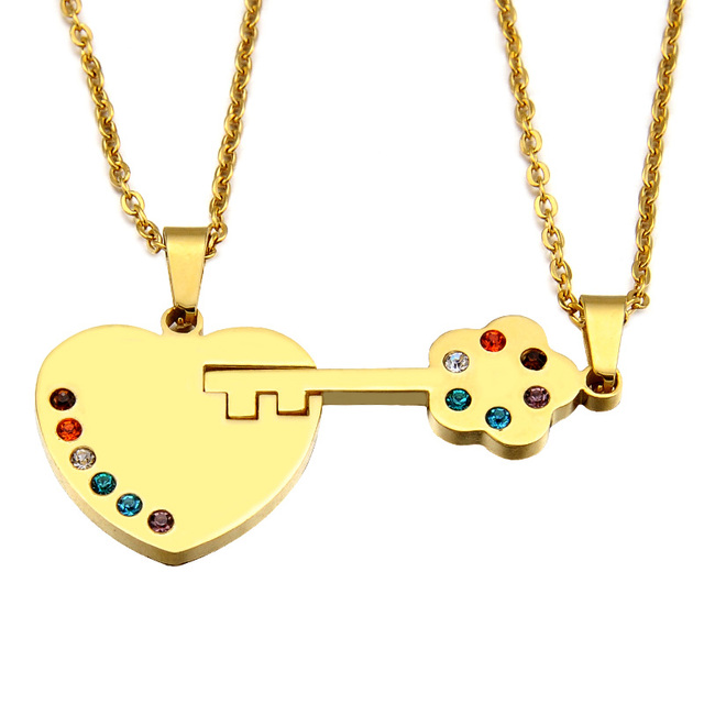 HIP Trendy Couple BFF Necklace Titanium Stainless Steel