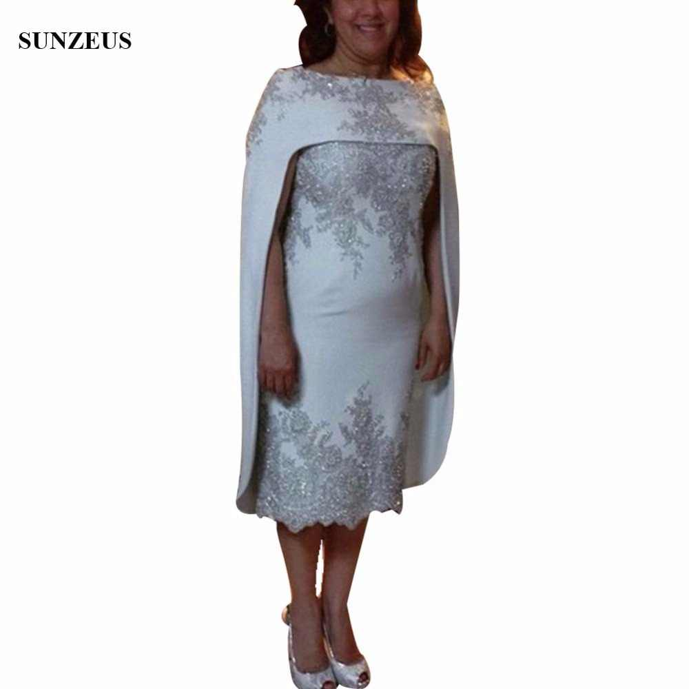 7eb16091628c Two Pieces Elegant Mother of the Bride Dresses Short Tea-Length Straight  Sweetheart Mother of