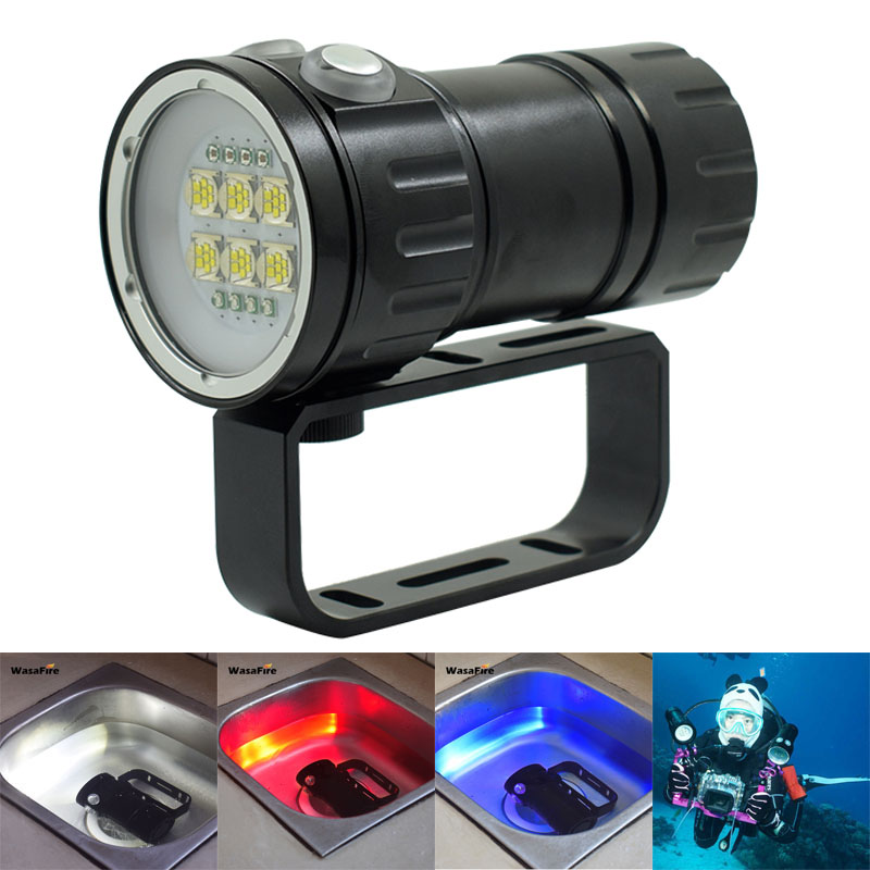 Professional LED Scuba Diving Flashlight Underwater Video Photo Light 9090 L2 White+ Red+ Blue LED Fill Lamp Dive Torch by 18650 diving flashlight 18650 power led torch underwater photography video lamp 10 xm l2 white 4 red 4 blue led scuba photo fill light