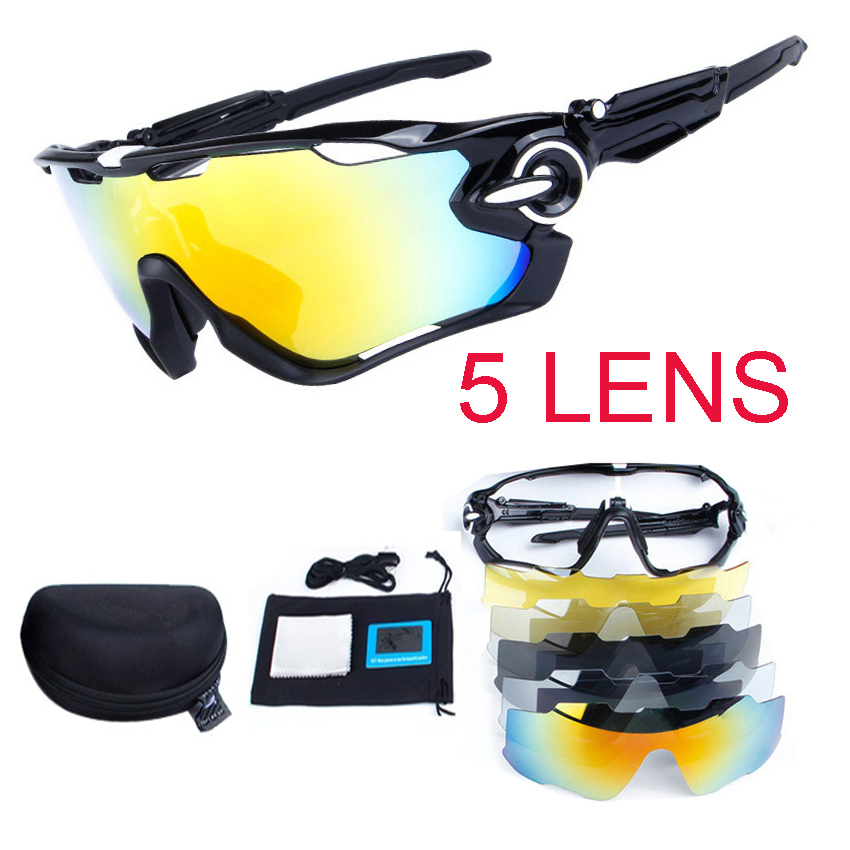 5 Lens Polarized Bike Glasses UV400 Jaw Bicycle Cycling glasses For MTB Outdoor Sports Cycling Sunglasses Fishing Glasses kallo 99151 outdoor sports grey lens uv400 polarized sunglasses black