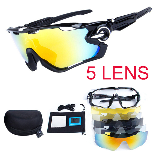07ff204a5a2 5 Lens Polarized Bike UV400 Jaw Bicycle Cycling glasses For MTB Outdoor  Sports