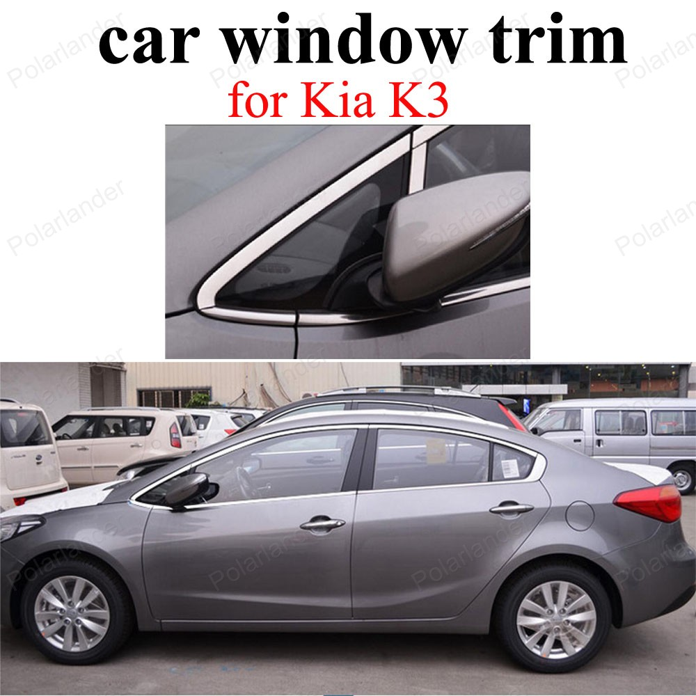 Stainless Steel Accessories Car Styling Window Trim Decoration Strips For Kia K3 stainless steel full window with center pillar decoration trim car accessories for hyundai ix35 2013 2014 2015 24