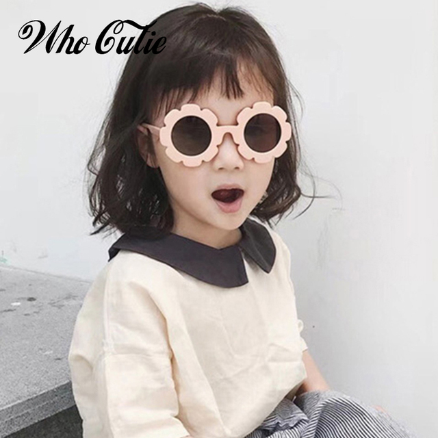 WHO CUTIE Round Flower kids sunglasses Brand Designer Girl Boy Goggles Cute Baby Sun glasses UV400 Lens Shades Children Toddler 3