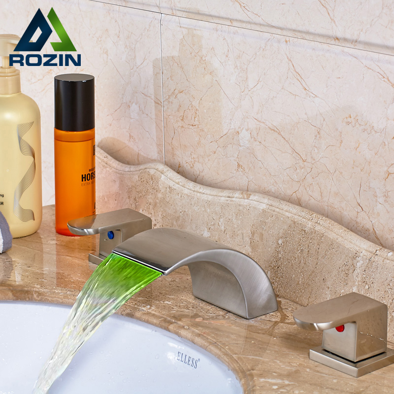 Brushed Nickel Color Changing LED Spout Basin Faucet Deck Mounted Waterfall Spout Widespread Mixer Taps
