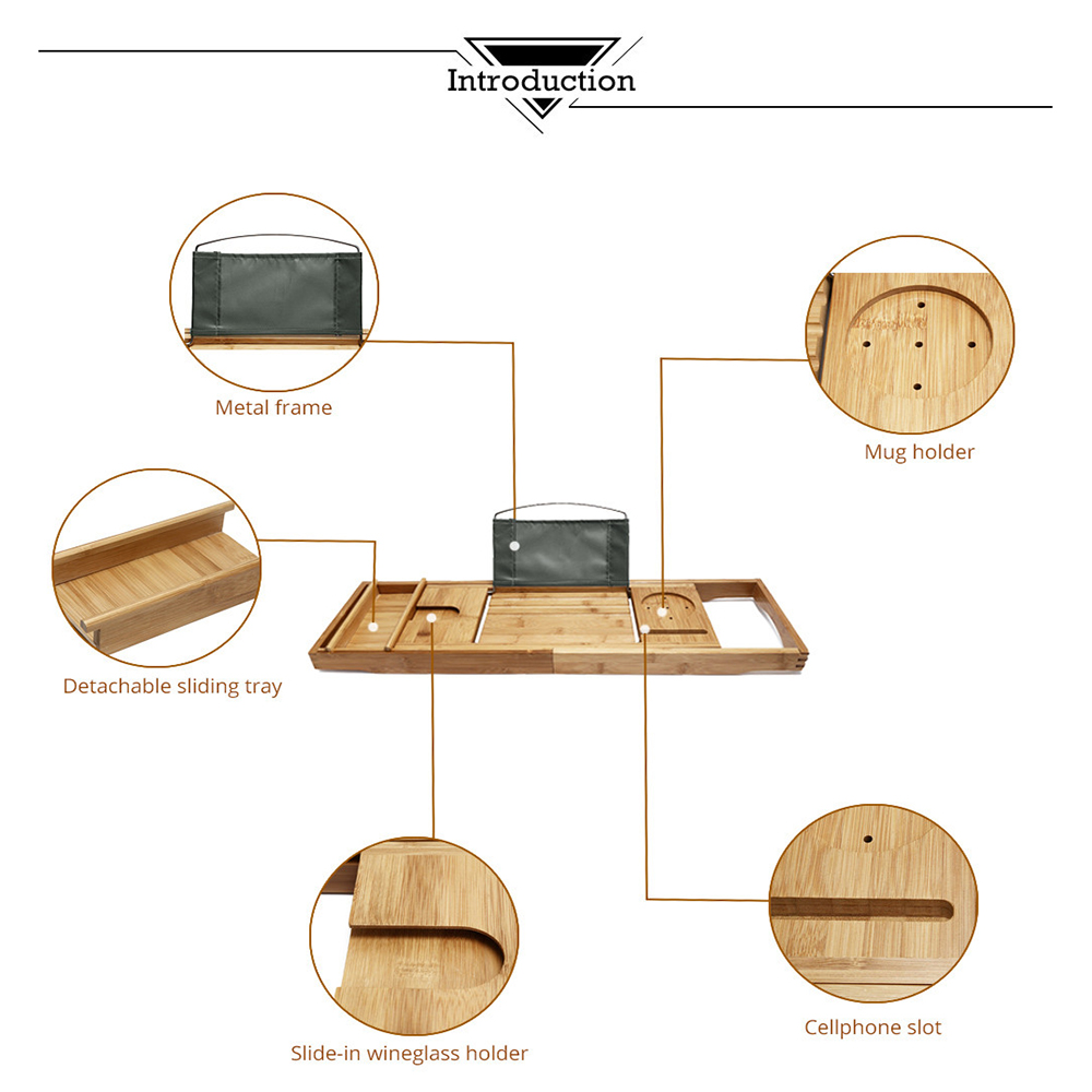 100% Natural Bamboo Bathtub Caddy Tray Organizer Extendable bathroom ...