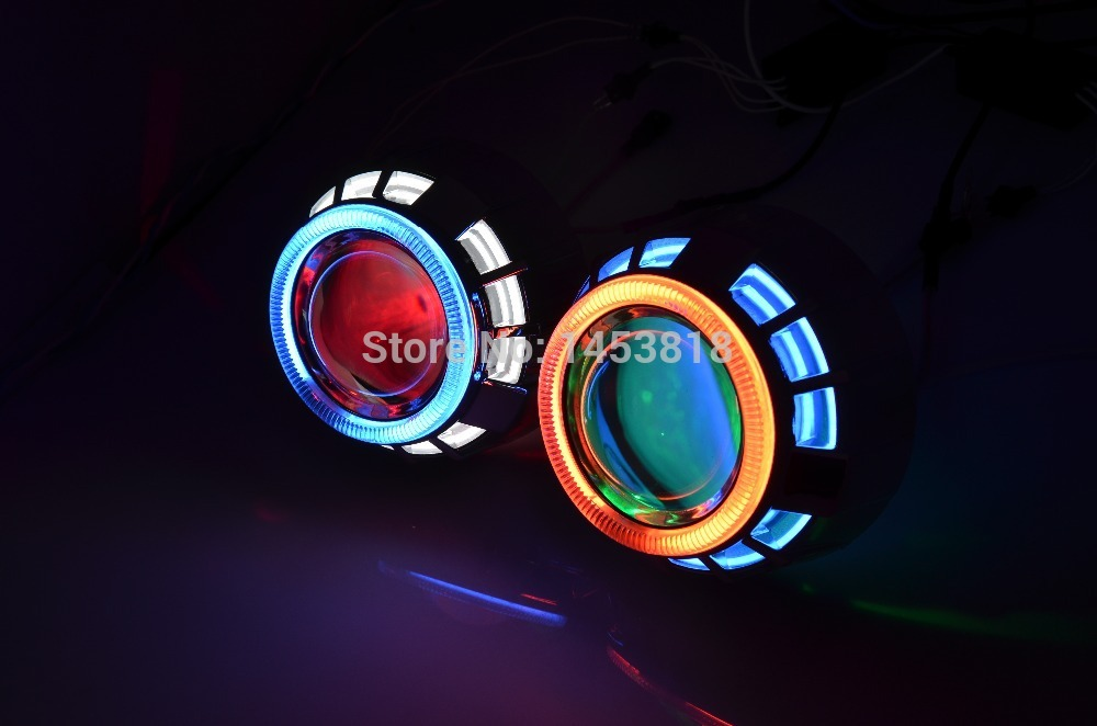 3.0HQT ccfl double angel eyes 3 inch HID Bixenon Projector Lens H4 H1 H7 H11 Blue Yellow Red White Green+2pcs HID slim Ballast 13a 2inch h4 bixenon hid projector lens motorcycle headlight yellow blue red white green ccfl angel eye 1 pc slim ballast