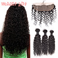 Malaysian Water Wave Virgin Hair With Frontal Closure Lace Frontal With Bundles Human Hair Top Malaysian Curly Hair With Closure