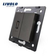 Livolo Negro Materiales Plásticos, Estándar de LA UE, Tecla de función Para Conector USB, VL-C7-1USB-12