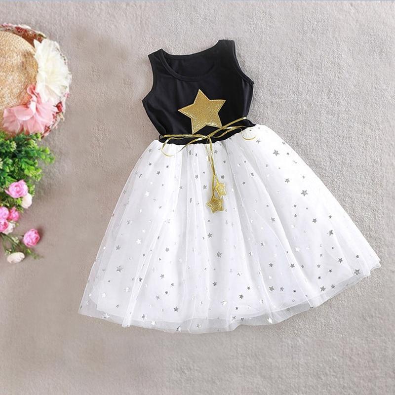 e03bc7ad768e Módní letní šaty dámské okrouhlý čistý příze hvězda děti šaty pro ...