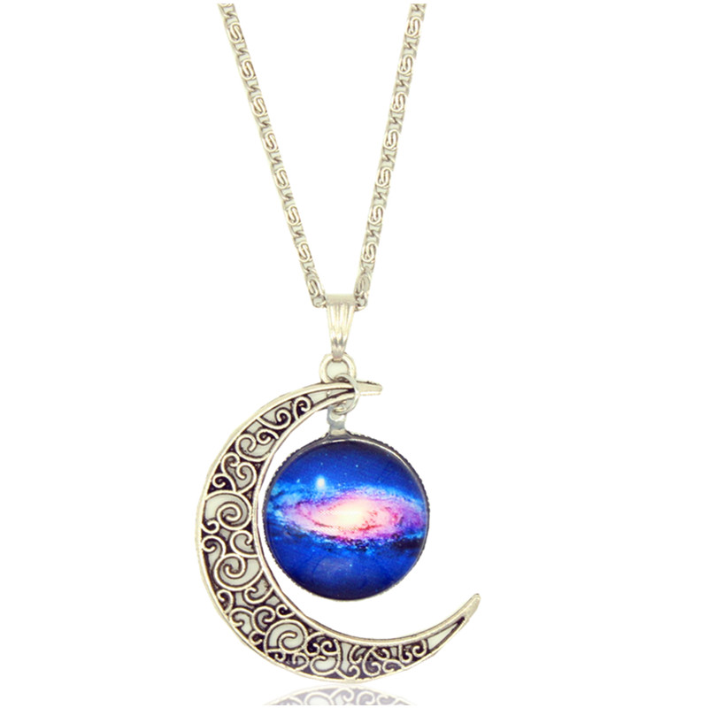 X405 Galaxy Necklace Beautiful Cabochon Alloy Hollow Moon Pendant Necklace Collar Women Girl Best Gift Jewelry Wholesale