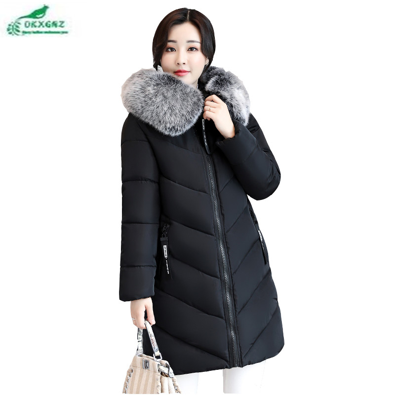 Medium long female large size feather cotton Outerwear new winter fashion Slim warm coat font b