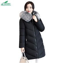 Medium long female large size feather cotton Outerwear new winter fashion Slim warm coat women thickening