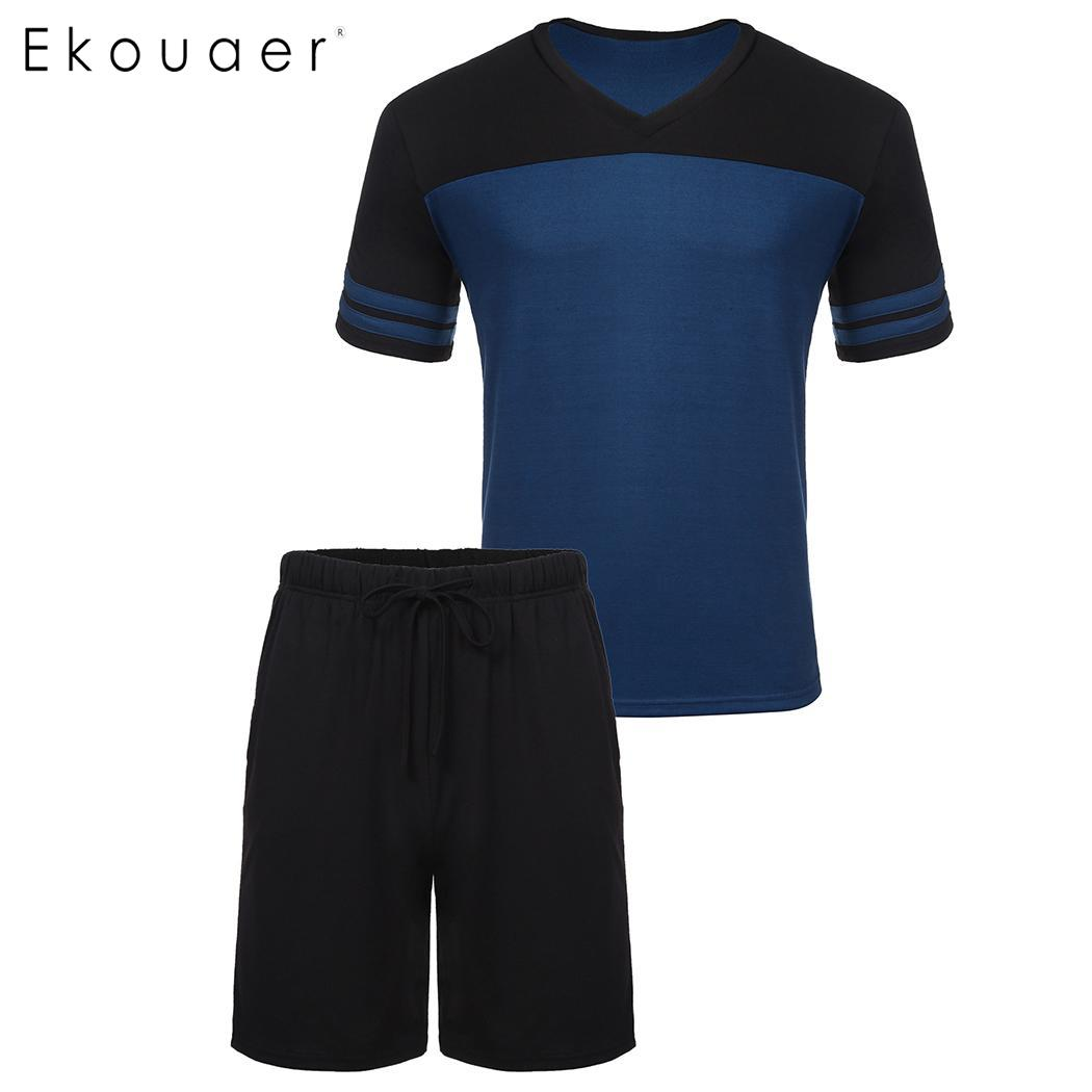 Ekouaer Men Summer Sleepwear Pajama Sets Short Sleeve V-Neck Middle Waist T-Shirt Shorts Loose Pajamas Nightwear Home Suit