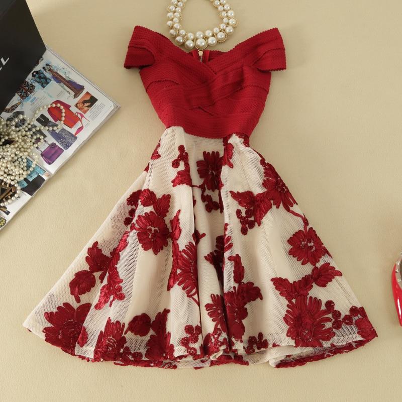 2019 Summer Dress women off shoulder slim elegant dress Embroidery lace dresses party dress