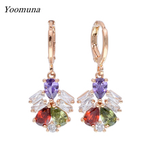 Drop Earrings for Women rainbow rose gold Color dangle Earring With Waterdrop Zircon Luxury Jewelry Wedding Party Gift