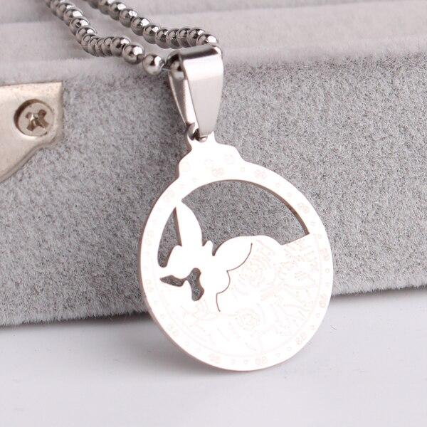 db51d504d204 Mariposa ronda 316L collares pendientes del acero inoxidable para las  mujeres de los hombres joyas al por mayor
