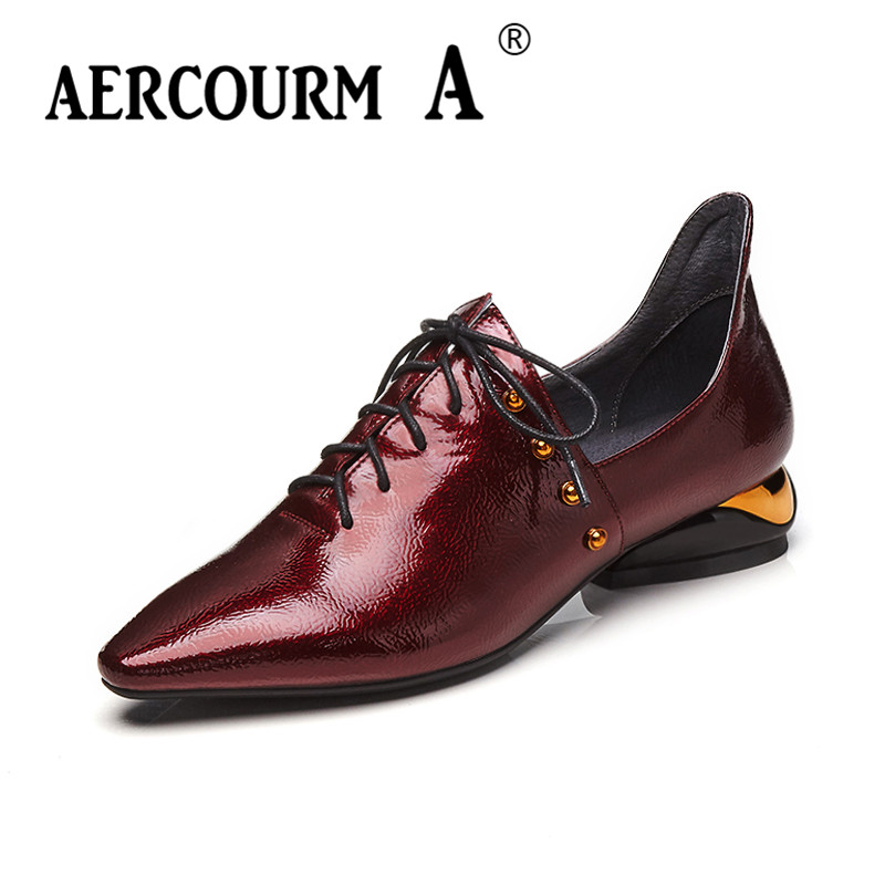 Aercourm A 2018 Woman Brand Rivet Shoes Spring Pumps High Heels Wrinkled Patent Leather Shoes Square Toe Lacing Shoes DTN&9662 aercourm a women black pumps 2018 spring high heels shoes woman shoes genuine leather square head rivet pointed shoes dtn8 1