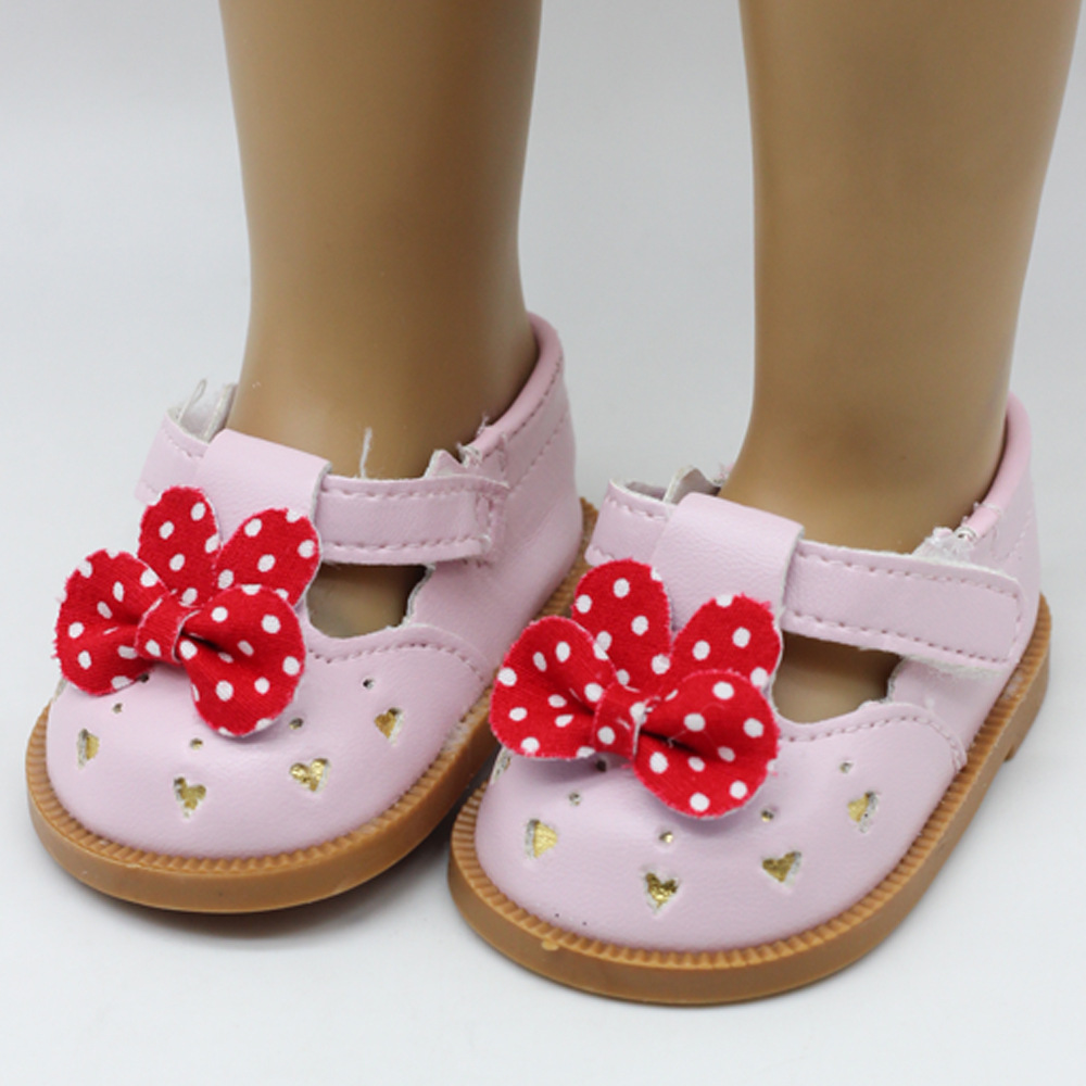 Fashion PU dot bow-knot Shoes Doll Shoes For zapf 18