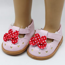 "Fashion PU dot bow-knot Shoes Doll Shoes For zapf 18"" American Girl Doll 43cm Baby Born Doll Accessories Kids Gift dress up Toys(China)"