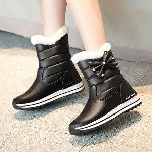 Image 5 - MORAZORA 2020 جديد وصول النساء حذاء من الجلد مقاوم للماء عدم الانزلاق الثلوج الأحذية الدفء بسيطة أحذية الشتاء غير رسمية امرأة حذاء مسطح
