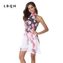 Lbqh новые женские модные пикантные летние без рукавов висит шеи Брендовое платье высокого качества печати шифон внутри дамы платье