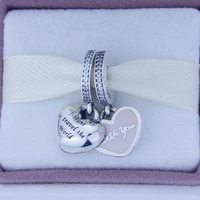 Fits Pandora charm Bracelets 925 Sterling Silver Travel With You Silver Charms with Pink Enamel Beads DIY Fine Jewelry
