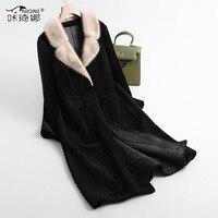 Осенне зимнее пальто женская одежда 2018 норковая шуба из натурального меха 100% шерстяная куртка Корейская винтажная овечья шерсть мех замша