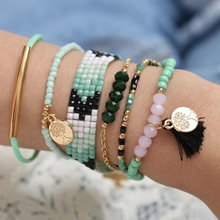 Fashion friendship bracelet 6ps/set Crystal Beads Life Tree Wax Rope Hand-knitted Bracelet summer jewelry(China)