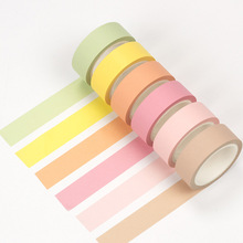 12 color Rainbow color paper washi tape 15mm*8m  Pure masking tapes for diary book decoration scrapbooking Stationery FJ583