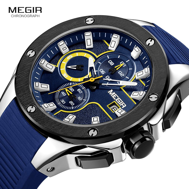 MEGIR Men Sport Watch Chronograph Silicone Strap Quartz Army Military Watches Clock Men Top Brand Luxury Male Relogio Masculino jedir brand luxury watches men army military silicone watch male casual sport relogio waterproof chronograph quartz wristwatch