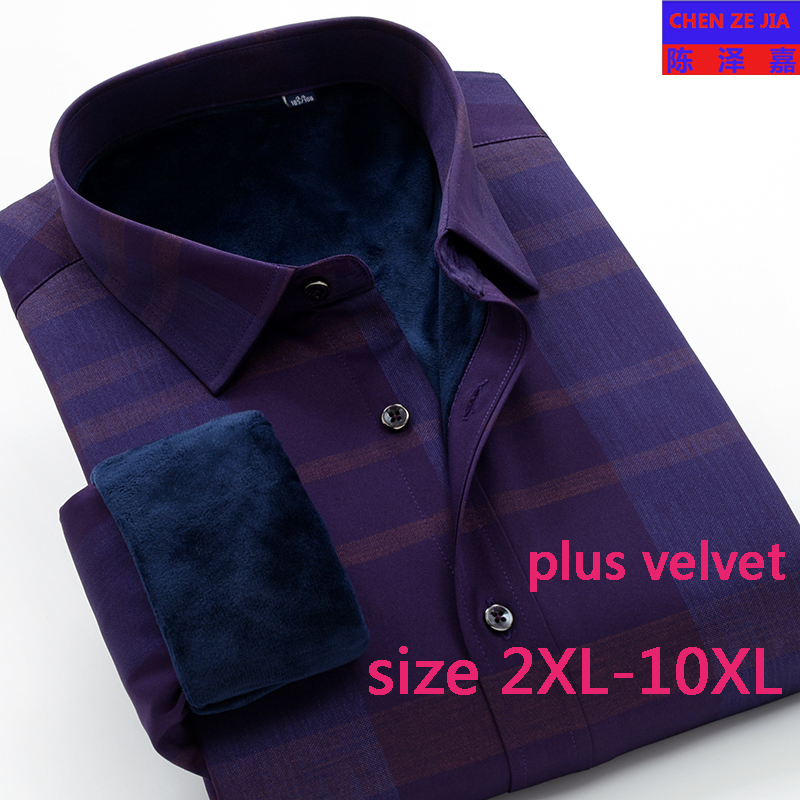 new arrival winter plus velvet fashion thick warm high quality Mens shirts long sleeve super large obese size XXL-8XL 9XL 10XL