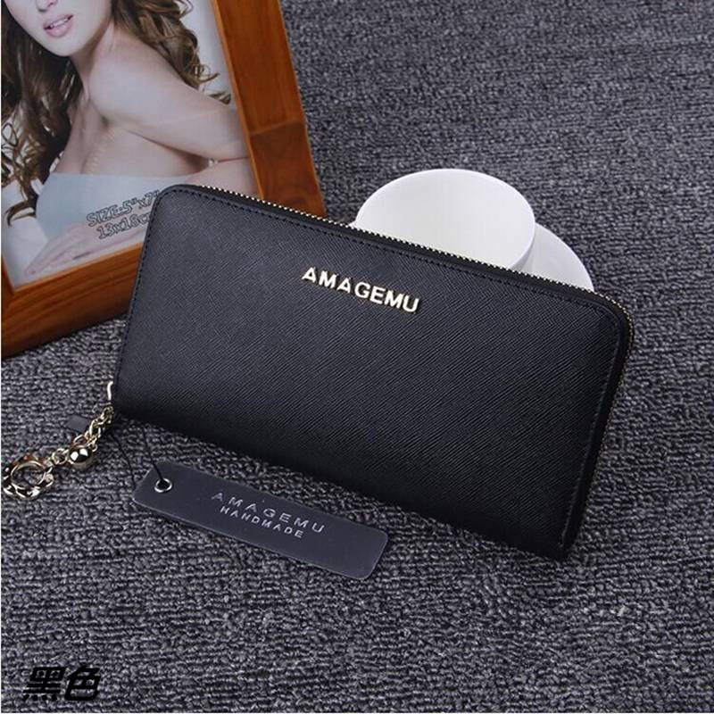 Hot Genuine Leather Wallet Women Zipper Purse Fashion Designer Wallets Famous Brand Women Wallet 2016 Solid Dollar Price Purses women wallets brand design high quality genuine leather wallet female zipper fashion dollar price long women wallets and purses