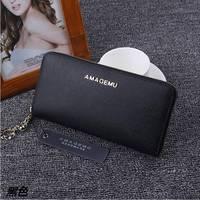 Hot Genuine Leather Wallet Women Zipper Purse Fashion Designer Wallets Famous Brand Women Wallet 2016 Solid
