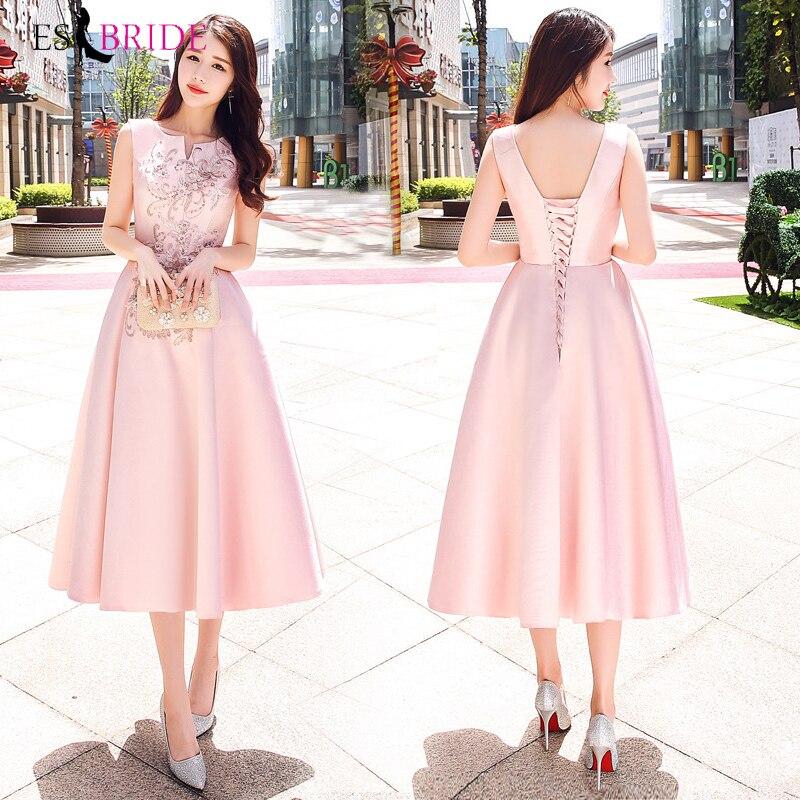 Evening Dresses Long 2019 Pink Simple Plus Size O Neck