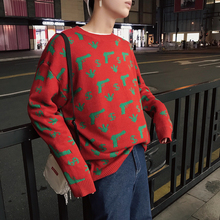 Fashion Casual Men's Sweater Autumn And Winter New S-2XL Print Pullover Loose Sweater Black Red Personality Youth Popular цена