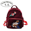 Vintage Embroidery Backpack Winter National Ethnic embroidered Floral Bird shoulder Bags velvet Retro Travel school Rucksack