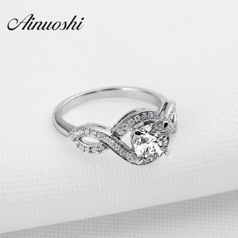 INFINITY Love Sona bague de fiançailles synthétique bague de mariage en argent Sterling 925 mariage bijoux de qualité cadeau de noël bague d'éternité