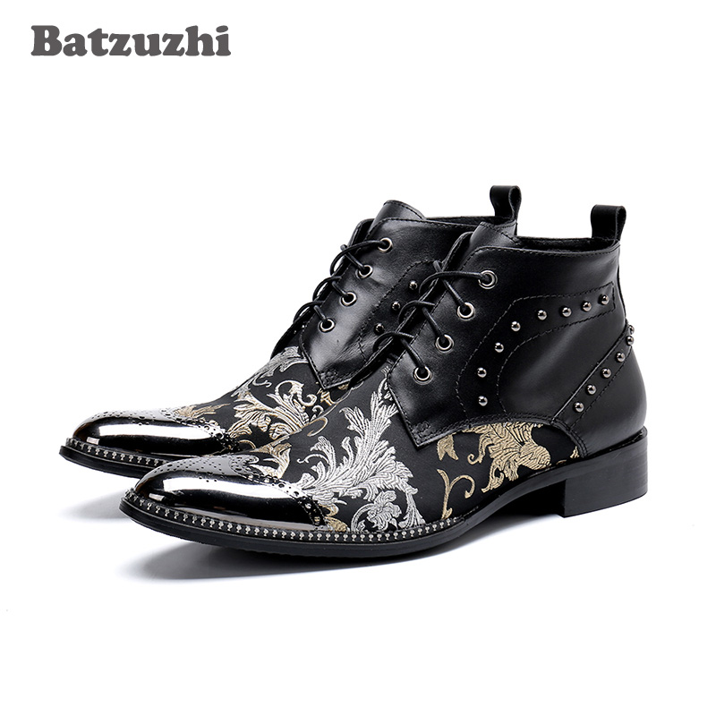 Batzuzhi Luxury British Style Men Ankle Boots Genuine Leather Motorcycle Cowboy Boots Men Leather Boots Botas Hombre, Big US6-12Batzuzhi Luxury British Style Men Ankle Boots Genuine Leather Motorcycle Cowboy Boots Men Leather Boots Botas Hombre, Big US6-12